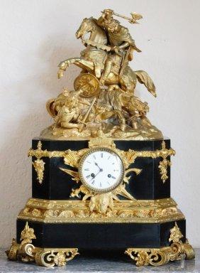 Antique Bronze Dore Mantle Clock 19th Century