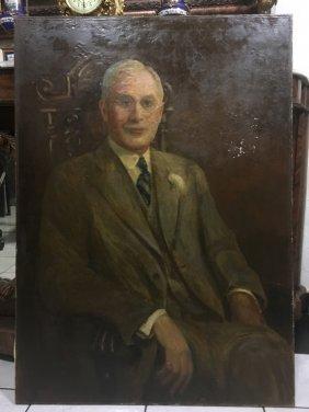 Vintage Oil Painting On Man