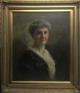 Vintage Oil Painting Of Old Woman
