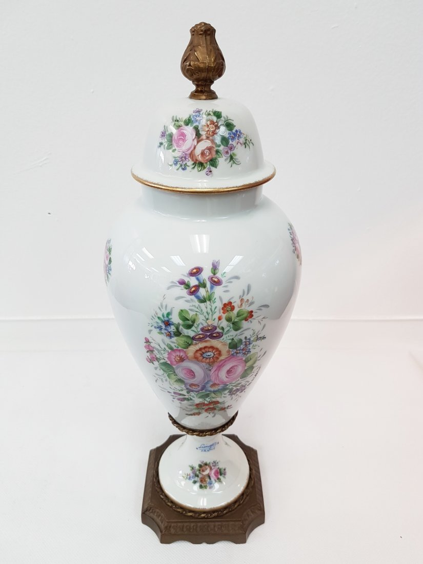 LIMOGES FRANCE HAND PAINTED PORCELAIN LIDDED VASE