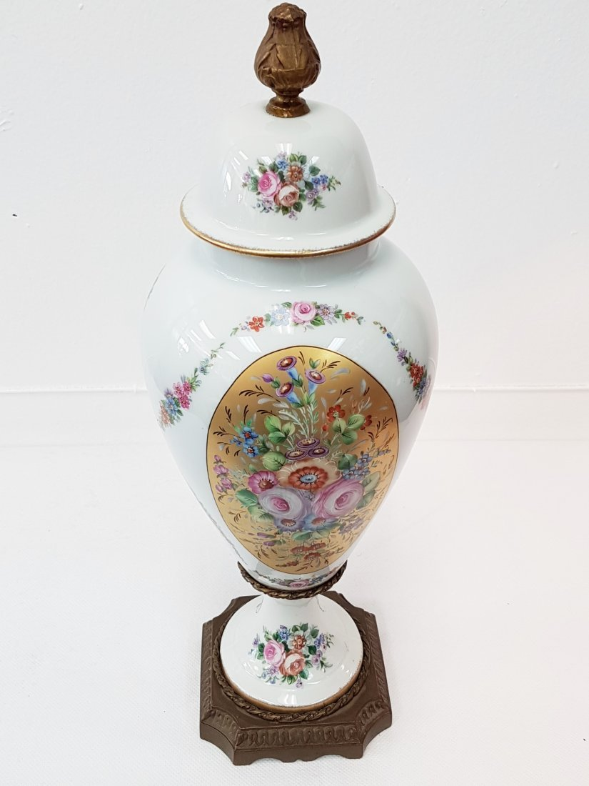 LIMOGES FRANCE HAND PAINTED PORCELAIN LIDDED VASE - 4