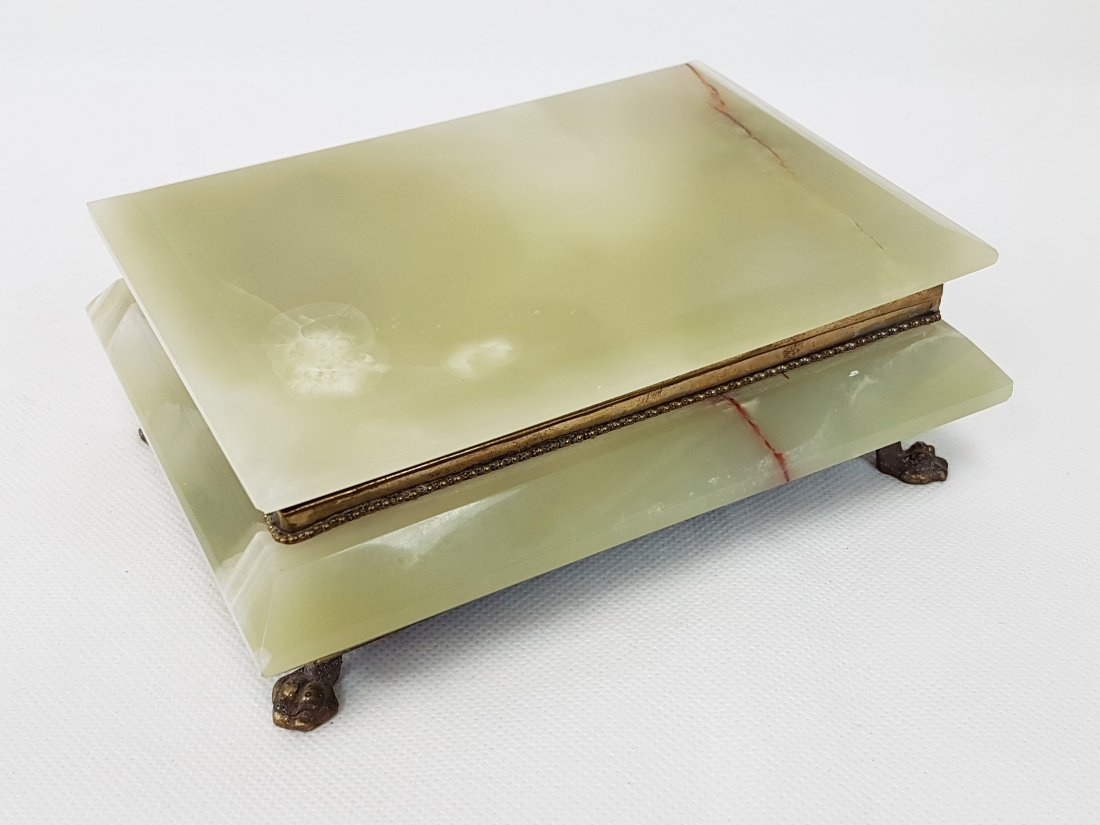 ANTIQUE GREEN ONYX AND BRONZE FOOTED BOX