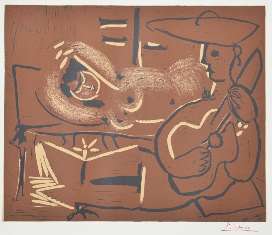 """RECLINING WOMAN AND GUITARIST"" BY PABLO PICASSO"