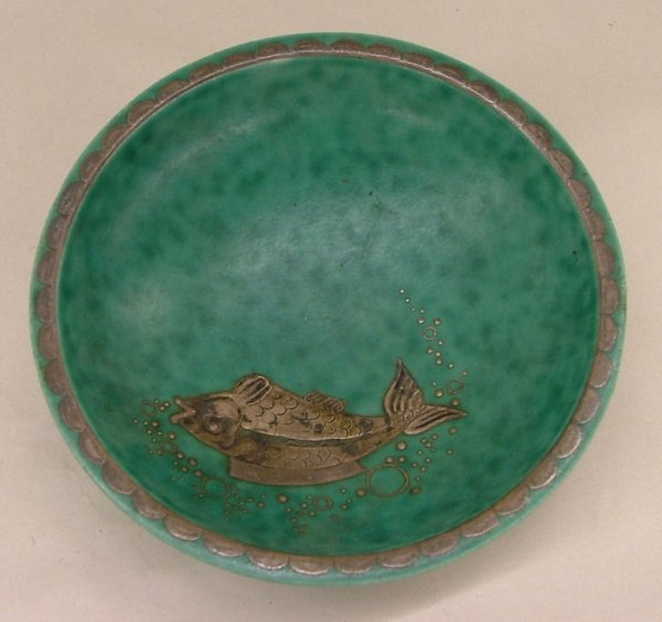 17: Gustavsberg Argente 1094 pottery with sterling over