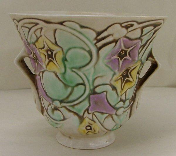 19: Roseville  Morning Glory Vase, 723-5, paper label