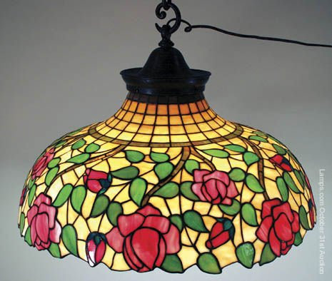 7: Williamson Leaded Glass Lamp Shade Overall Rose