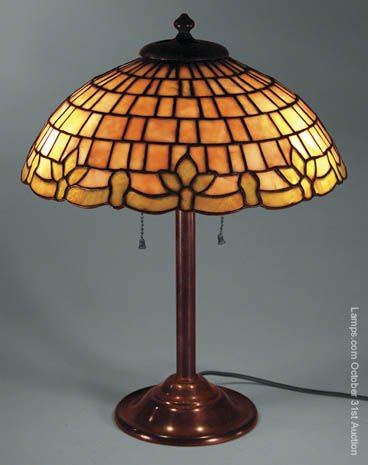 9: Duffner & Kimberly Fleurdelis Leaded Glass Lamp