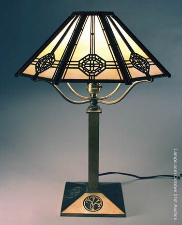 10: Bradley & Hubbard Slag Glass Panel Lamp