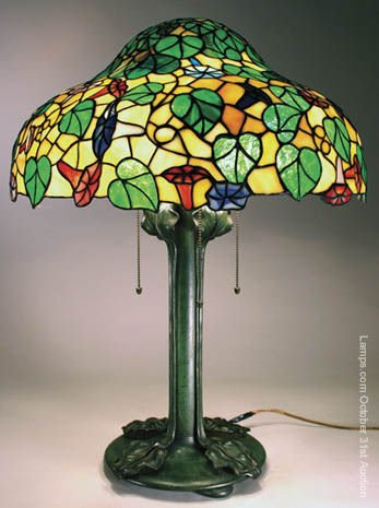 13: Riviere Studios Floral Leaded Glass Lamp