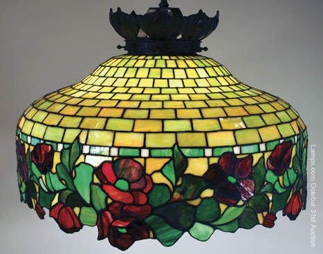 17: Handel Floral Border Leaded Glass Lamp Shade