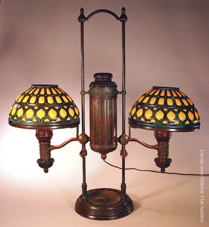 25: Tiffany Studios Student Lamp & Glass Shades