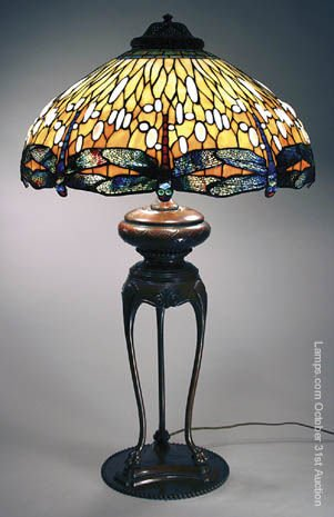 45: Tiffany Studios Leaded Glass Lamp Dragonfly
