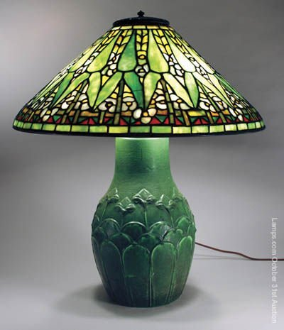 46: Tiffany Studios Leaded Glass Lamp Grueby Arrowroot