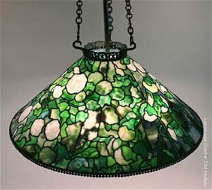 122: Tiffany Studios Leaded Glass Chandelier Hydrangea