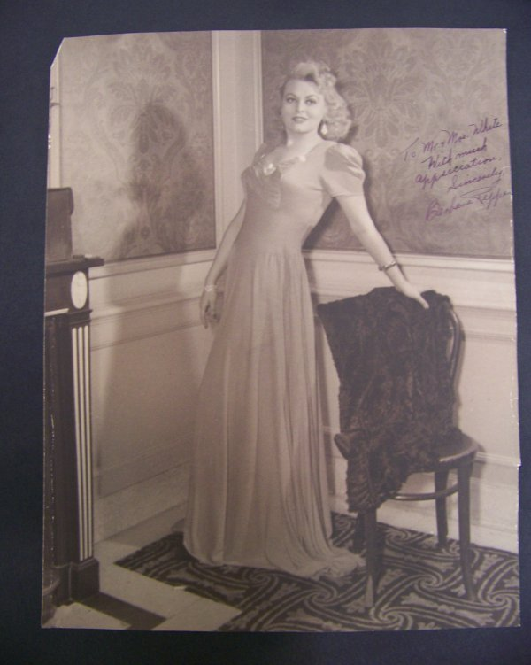 15: photograph of Barbara Pepper with autograph