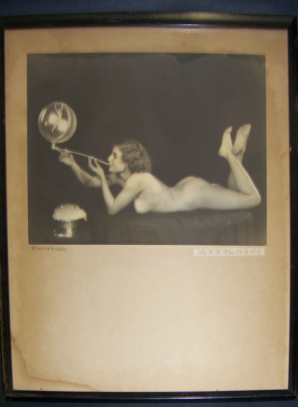 """110: nude photograph titled """"Blowing Bubbles""""."""
