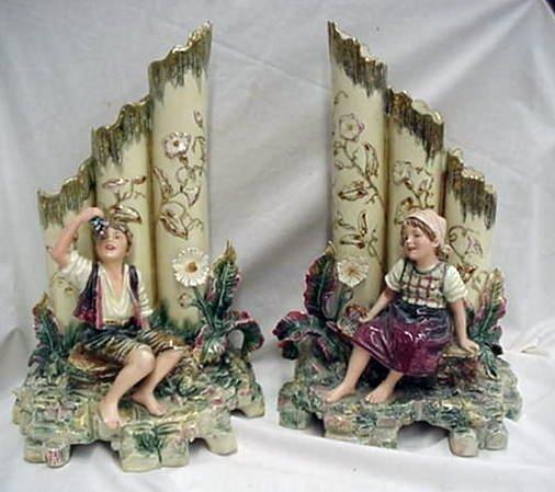 1: Important pair of Majolica figural vase gr