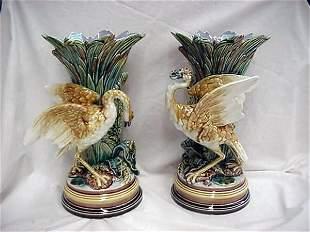 "Pair of 13"" Majolica bird vases signed Gus"