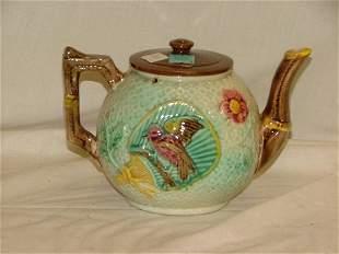"""5.5"""" Majolica bird tea pot, crazing, profe"""