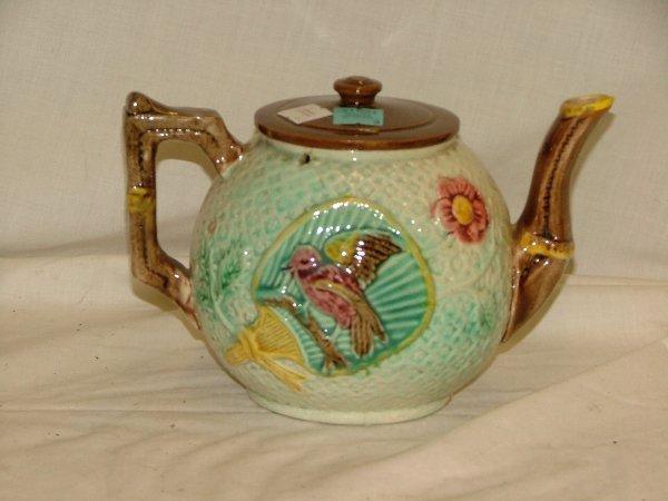 """3: 5.5"""" Majolica bird tea pot, crazing, profe"""