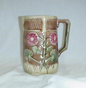 "4: 6.5"" Majolica floral vase, approx. 1"" hair"