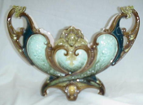 """6: 16"""" wide Majolica dolphin handled vase wit"""
