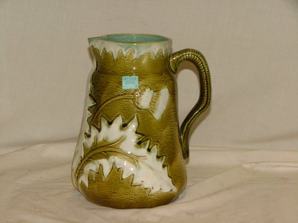 """8: 9"""" Majolica floral pitcher, approx. 2"""" str"""