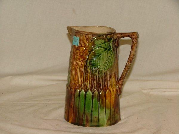 "9: 7.25"" Majolica floral vase, brown and gree"