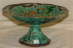 """11"""" Majolica footed bowl with acorns and"""