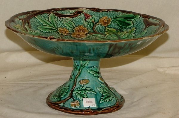 """10: 11"""" Majolica footed bowl with acorns and"""