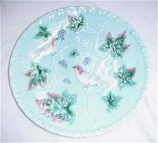 "Floral Majolica cake plate, 11.25"" cake p"