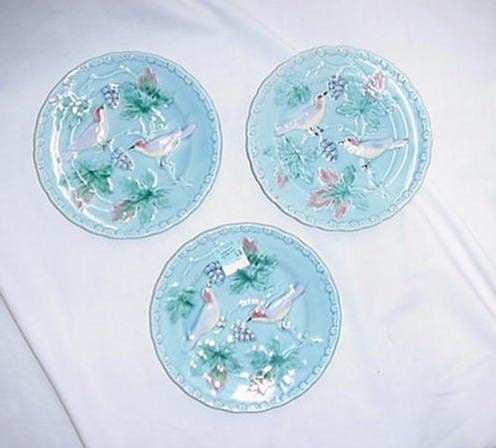 """13A: 3 6"""" Majolica floral cake plates with bi"""