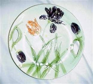"""11.25"""" Majolica floral plate, flaking"""