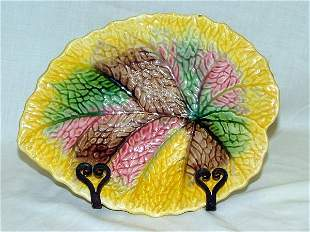 "10.25"" Majolica leaf plate, minor flaking"