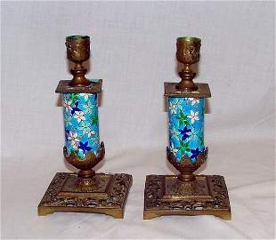 Pair of Majolica style floral candle stic