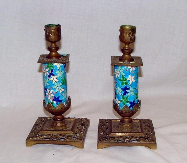 16: Pair of Majolica style floral candle stic