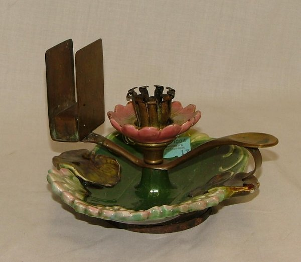 """17: 6"""" Majolica candle stick with brass match"""