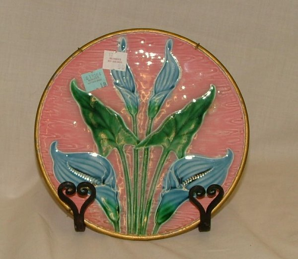 """18: 7.5"""" Majolica floral plate with brass rim"""