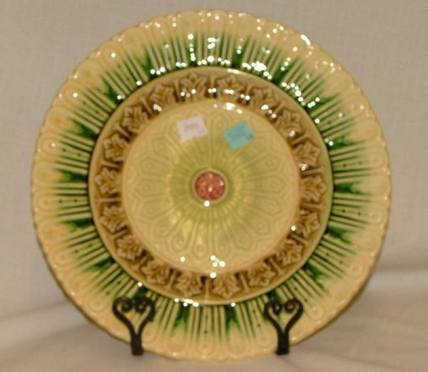 """19: 11.25"""" Majolica plate with minor flaking,"""