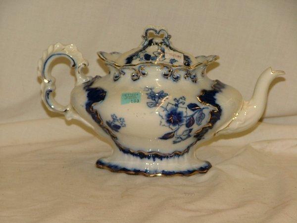 "103: Flow blue10""  tea pot signed Lyndhurst,"