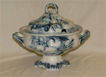 "107: 10"" flow blue covered tureen with cut ou"