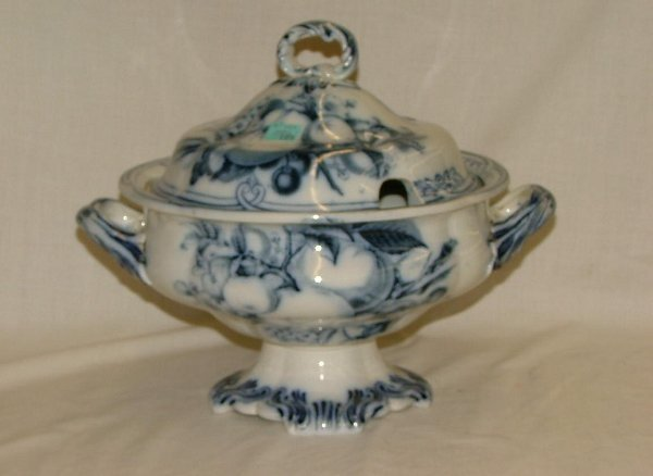 """107: 10"""" flow blue covered tureen with cut ou"""