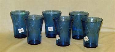 152: Set of 6 cobalt depression tumblers with