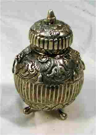 """5"""" finely engraved English silver tea c"""