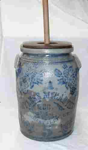 Stoneware butterchurn Bayless McCarthy