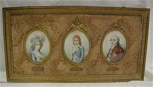 """Hand painted portraits on ivory. 3 3.5"""""""