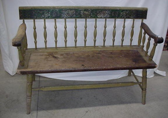 "1016: 47.5"" settle bench with original stenci"