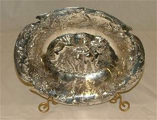 """10.25"""" German silver bowl with 800 Hall"""