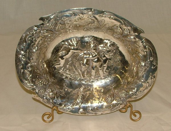 "1017: 10.25"" German silver bowl with 800 Hall"