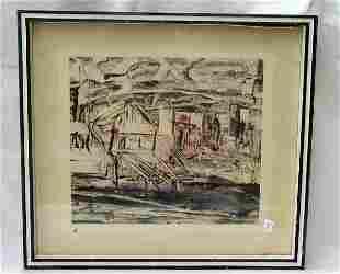 "11"" x 12.5"" print signed M. Tischler"